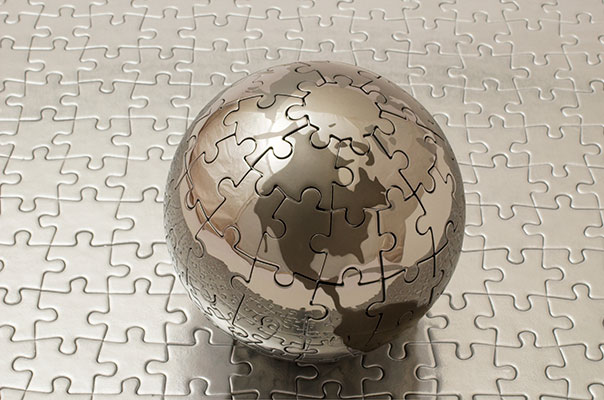 Jigsaw puzzle of globe