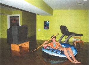 Man in pool float in a home